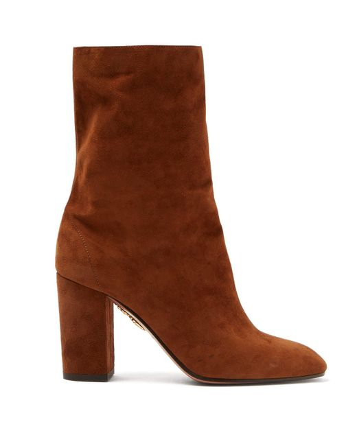 Aquazzura - Brown Boogie Suede Ankle Boots - Lyst
