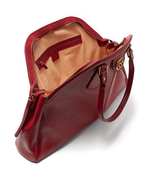 Lyst - Sac à main en cuir à poignées Re(belle) Gucci en coloris Rouge c91c33bafc3