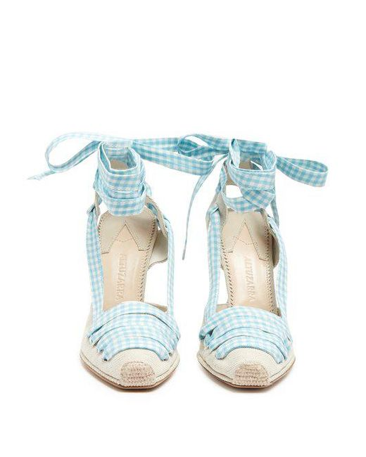 Altuzarra D'Orsay gingham-ribbon linen pumps Discount Order wmjhRQSq