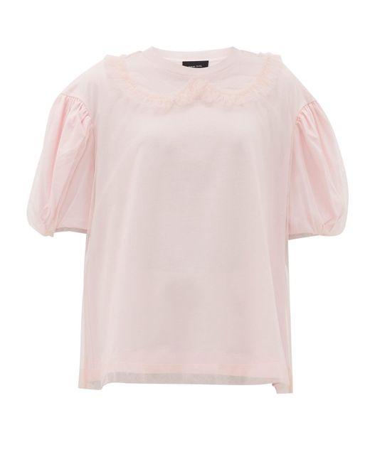 Simone Rocha パフスリーブ チュール&コットン Tシャツ Pink