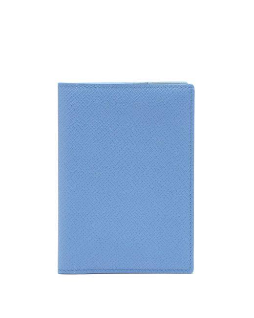 メンズ Smythson パナマ レザーパスポートケース Blue