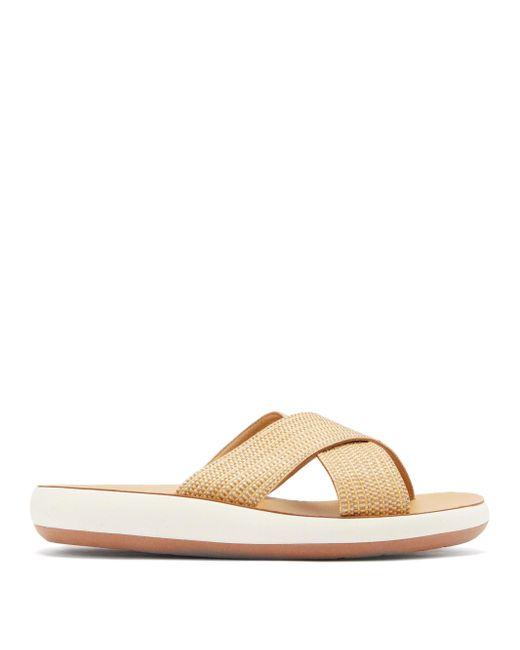 Ancient Greek Sandals タイス クロスストラップ ラフィアサンダル Brown