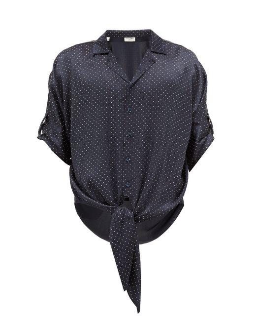 メンズ Saint Laurent ドット ノットヘム シルクサテンシャツ Multicolor