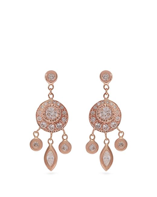 Jacquie Aiche - Multicolor Dreamcatcher Diamond & Rose Gold Earrings - Lyst