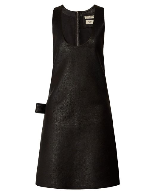 Bottega Veneta パッチポケット レザーミディドレス Black