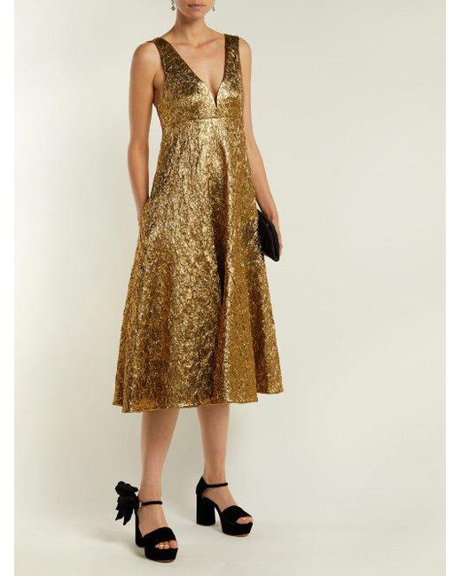 Metallic-bouclé foil-effect midi dress Rochas Buy Cheap Footlocker Pictures Newest Sale Online Cheap Sale Outlet Clearance Comfortable Buy Cheap Get Authentic VbTo8Pe