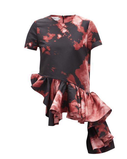 Marques'Almeida ラッフルペプラムヘム タイダイ サテンtシャツ Multicolor