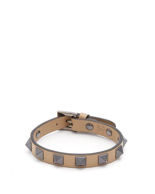Valentino - Brown Rockstud-embellished Leather Bracelet for Men - Lyst