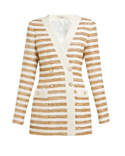 Alessandra Rich Multicolor Striped Double-breasted Tweed Jacket