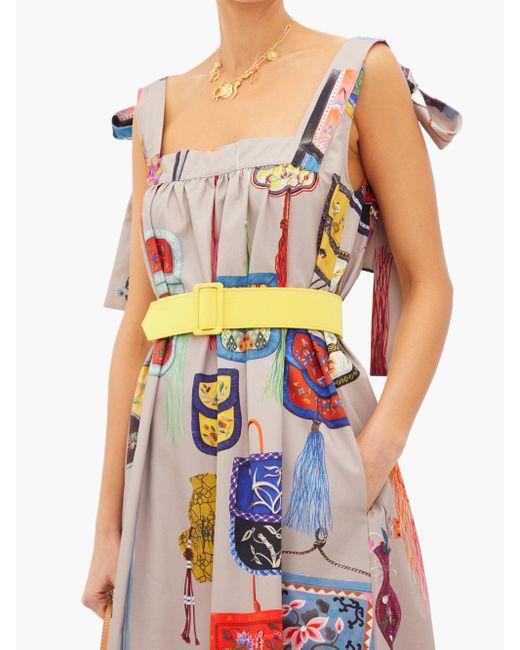 Robe longue en coton à imprimé sac Marta Ferri en coloris Multicolor