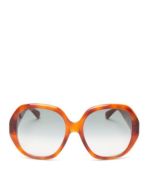 Gucci Multicolor Oversized Round Tortoiseshell-acetate Sunglasses