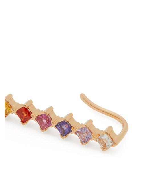 Diane Kordas レインボー サファイア&ダイヤモンド 18kローズゴールドイヤーカフ Multicolor