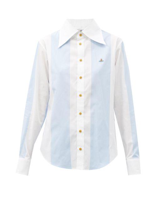 Vivienne Westwood エンブロイダリー ストライプ コットンシャツ Multicolor