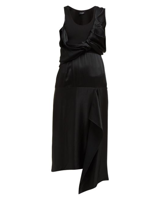 Atlein ドレープ サテンドレス Black