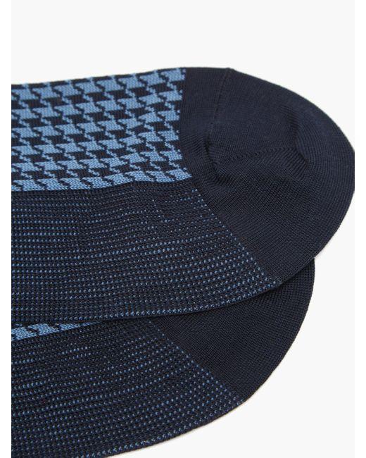 メンズ London Sock Company Jermyn St. コットンブレンドソックス Blue