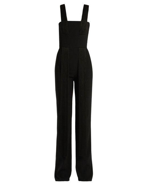 Galvan - Black Cortado Wide-leg Fringed Jumpsuit - Lyst