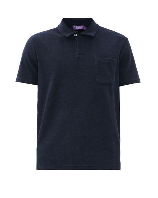 メンズ Ralph Lauren Purple Label リヴィエラ テリーコットンポロシャツ Blue
