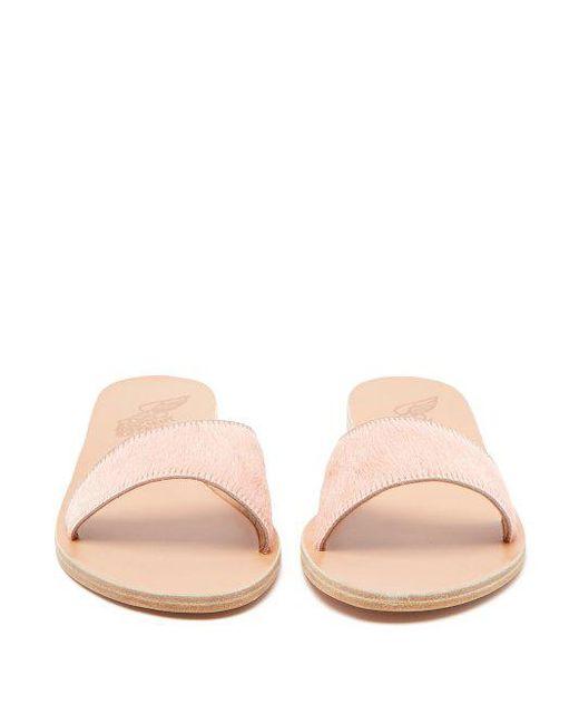 ancient greek sandals arsinoi leather calf hair slides womens