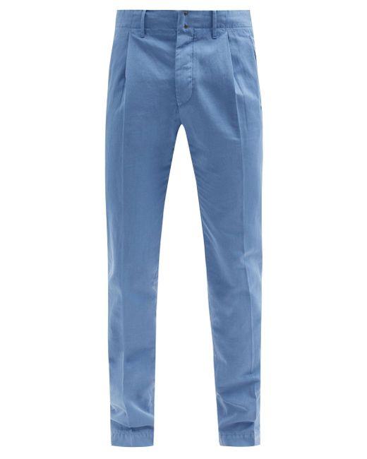 メンズ Incotex コットンリネン タック スリムチノパンツ Blue