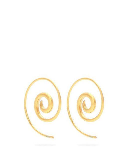 Noor Fares - Metallic Rainbow Spiral Coated Yellow-gold Earrings - Lyst