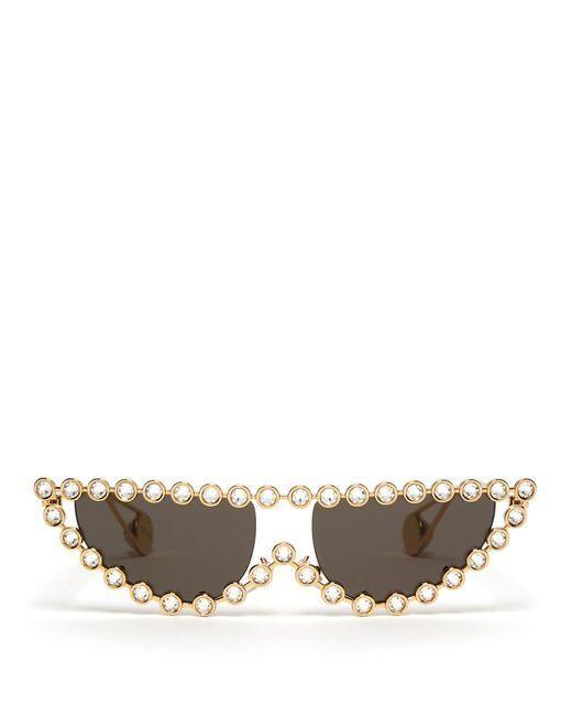 Gucci Pearl Embellished Sunglasses Multicolor