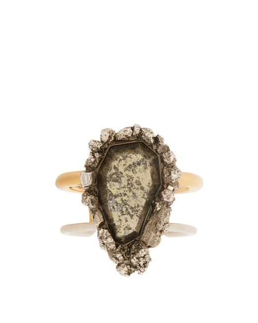 Alexander McQueen | Metallic Pyrite-embellished Double-ring Cuff | Lyst