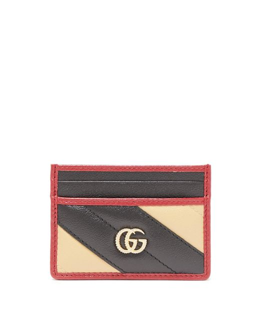 Gucci Red GG Marmont Striped Leather Cardholder