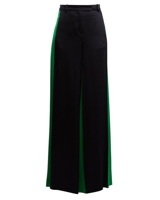 Valentino Blue Wide Leg Hammered Satin Trousers