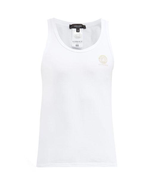 メンズ Versace メデューサヘッド コットンブレンド タンクトップ White