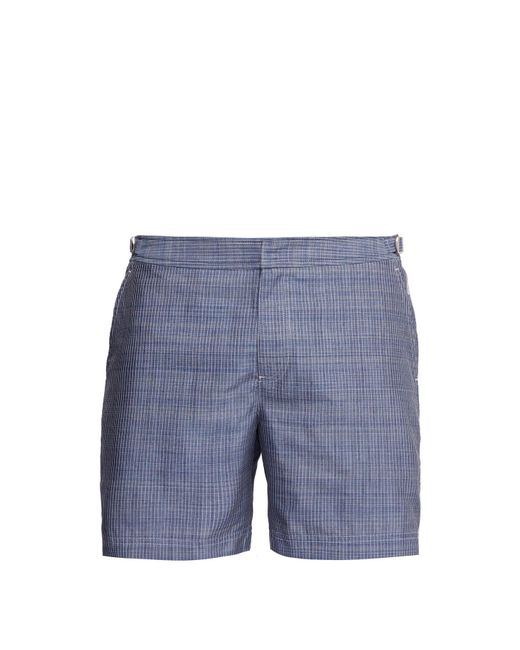 Orlebar Brown Blue Bulldog Check Stitched Chambray Swim Shorts for men