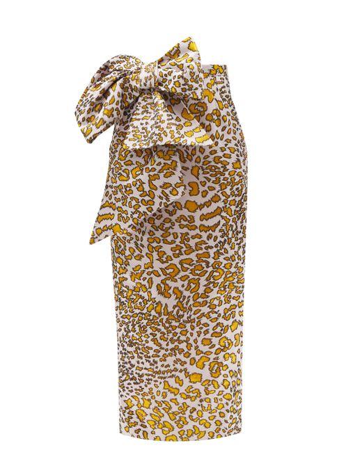 Halpern リボン レオパードジャカード ドレス Multicolor