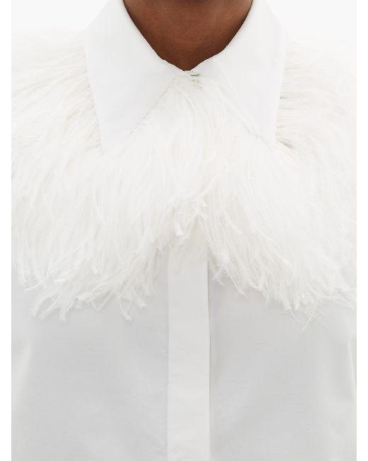 Christopher Kane フェザートリム コットンポプリンシャツ White