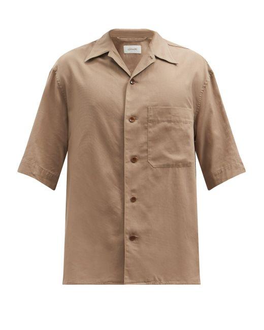 メンズ Lemaire キューバンカラー コットン ショートスリーブシャツ Natural