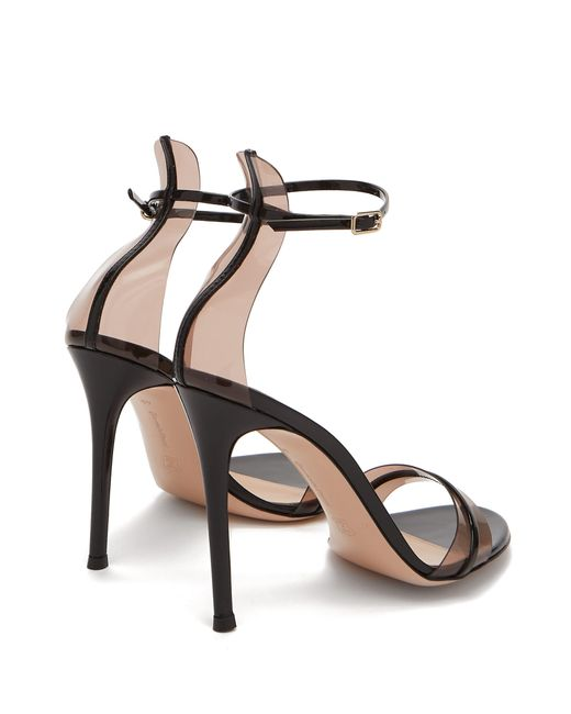 4742cd94bbe ... Gianvito Rossi - Black 105 Patent-leather And Pvc Sandals - Lyst ...