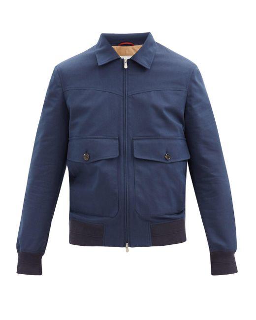 メンズ Brunello Cucinelli パッチポケット ウールブレンドギャバジン ジャケット Blue