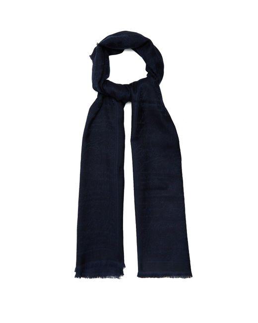 Berluti - Blue Text-jacquard Cashmere-blend Scarf for Men - Lyst