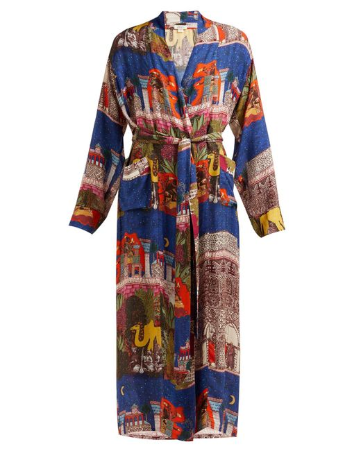 Chufy Blue Camel Tie Waist Robe Jacket