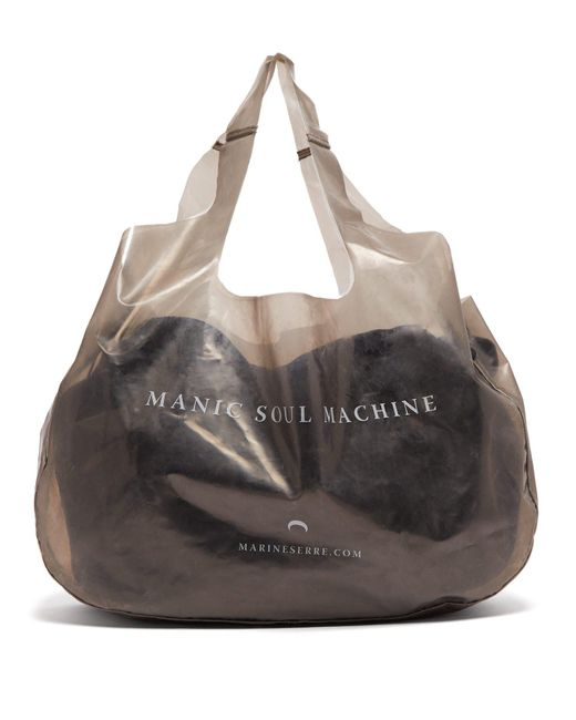 MARINE SERRE Gray Printed Pvc Tote Bag