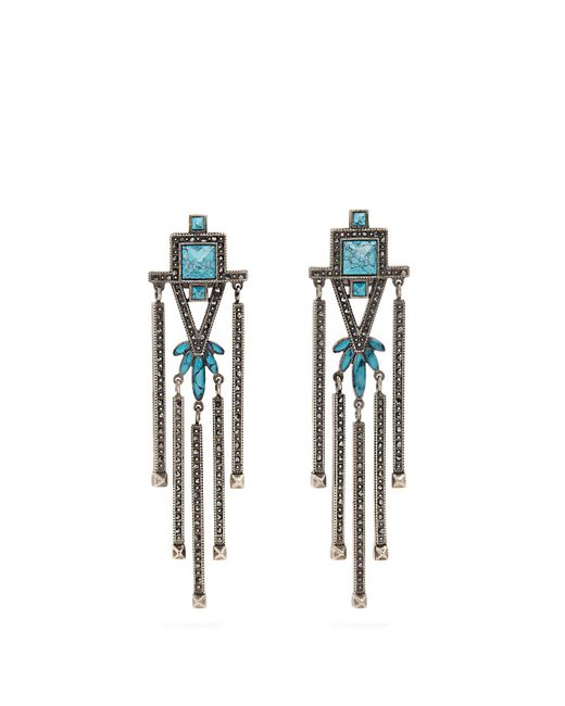 Valentino | Blue Crystal-embellished Clip-on Earrings | Lyst