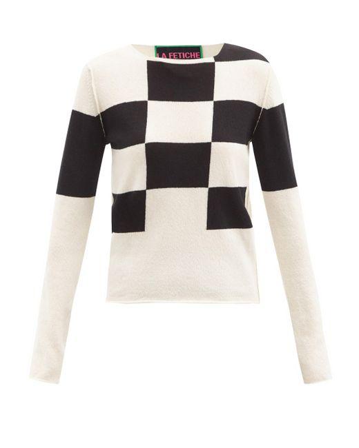 La Fetiche タフィン チェック ラムウールセーター Multicolor