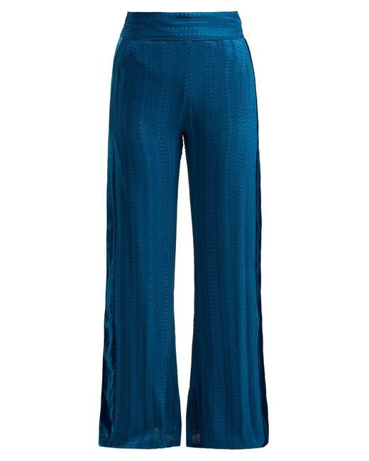 Zeus + Dione Blue Alcyone Side Stripe Silk Blend Trousers