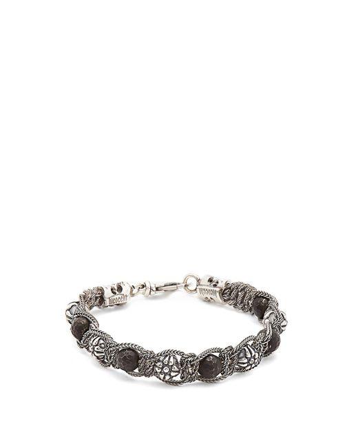 Emanuele Bicocchi - Metallic Bead-embellished Sterling-silver Bracelet for Men - Lyst