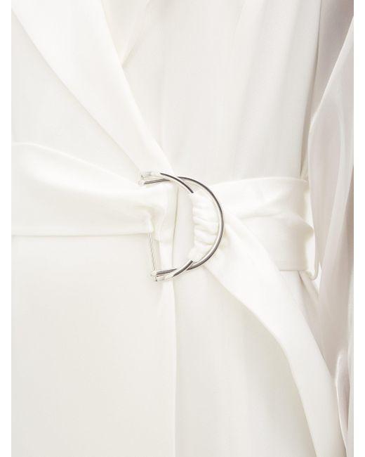 Galvan バルーンスリーブ サテンラップドレス White