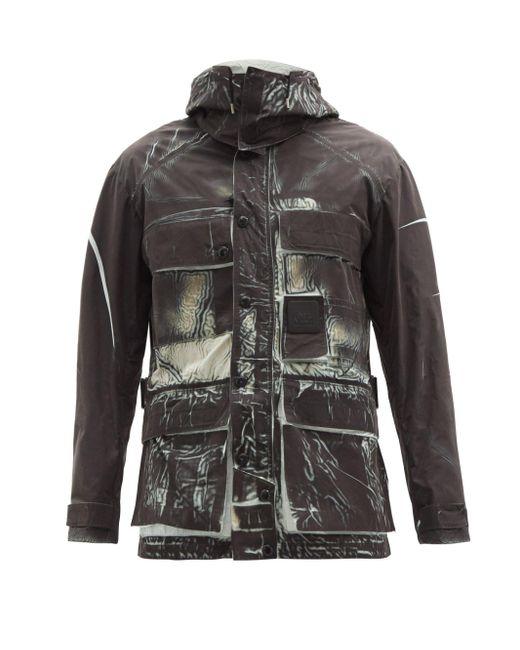 メンズ C P Company アブストラクトプリント フーデッドジャケット Black