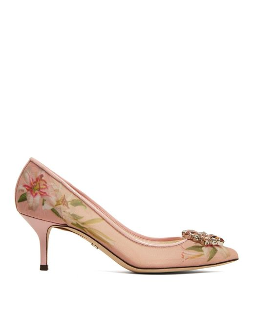 Dolce & Gabbana Pink Bellucci Lily Print Mesh Pumps