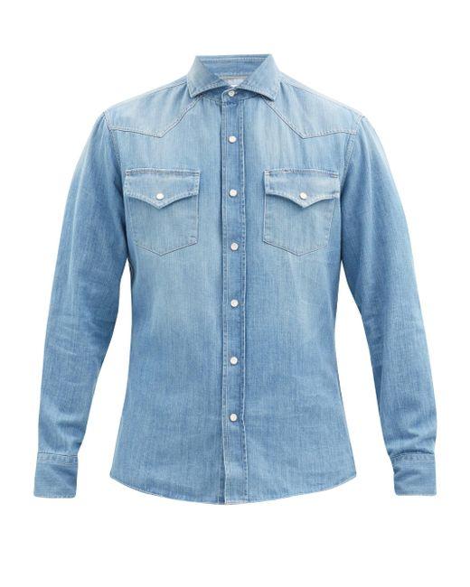 メンズ Brunello Cucinelli ウォッシュドデニム コットンシャツ Blue