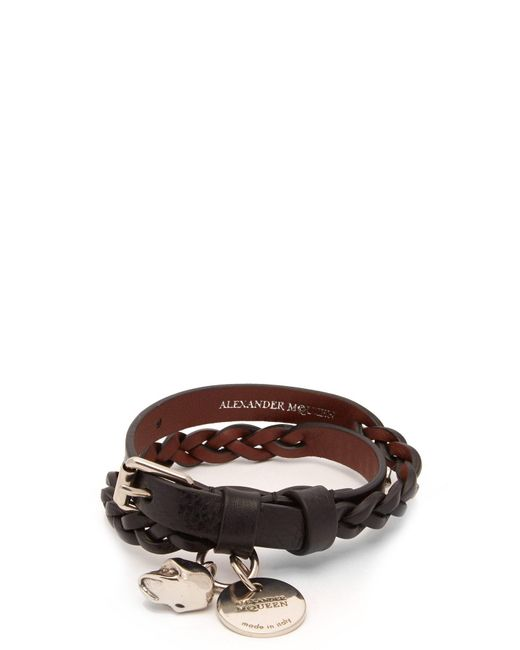 Alexander McQueen - Black Skull And Stud Leather Wrap Bracelet for Men - Lyst