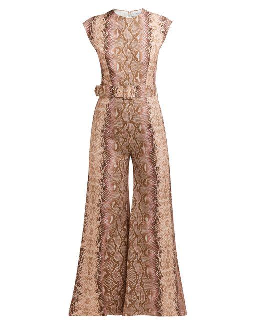 Emilia Wickstead - Pink Barbara Python Print Cropped Leg Jumpsuit - Lyst