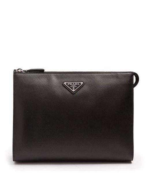 771289bd478c2e Prada - Black Logo-plaque Saffiano-leather Washbag for Men - Lyst ...
