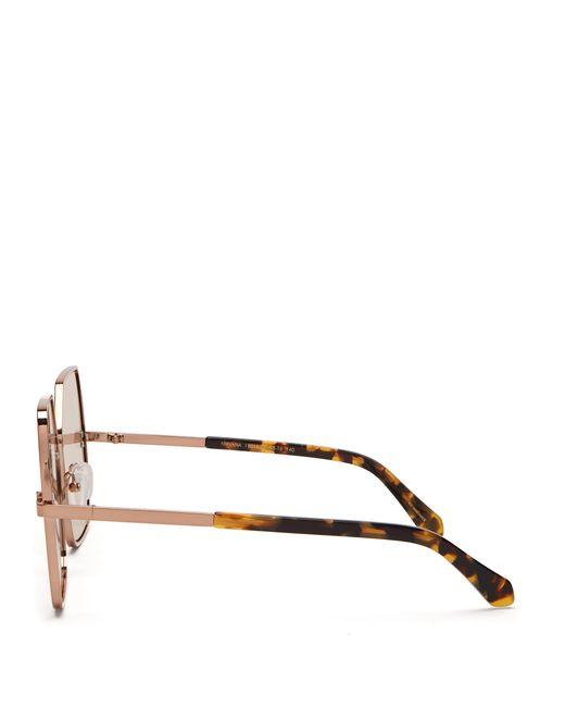 206b6c89ea ... Karen Walker - Brown Nirvana Gold Oversized Square Sunglasses - Lyst ...